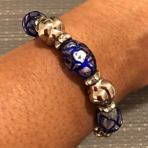 Jewelry - Royal Blue Crystal & Silver Ball Bracelet